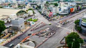 Timelapse Of Traffic On Road Near Bangkok Railway Station stock video footage