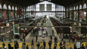 Timelapse of the train station Gare du nord stock footage