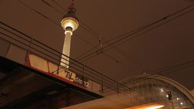 Timelapse of trains enter the station in Berlin stock video