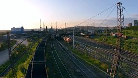 Timelapse of trains on the railway. Movement of trains on the railway, in the background operate cranes Seaport stock video