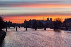 Timelapse Transition of Sunrise over ile de la Cite in winter - Paris royalty free stock images