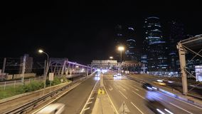 Timelapse of transport metropolis, traffic and blurry lights stock footage
