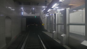 Timelapse of traveling by underground train. Timelapse shot of moving through the subway tunnels in the train with stops at the stations. Underground in Paris stock video