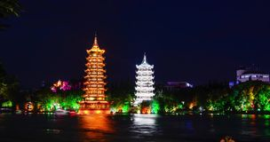 Twin pagodas in Guilin, famous travel spot in Guangxi province, China stock footage