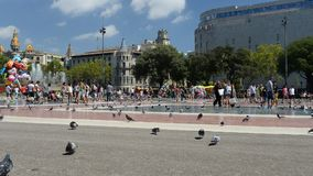 Timelapse of undefined people in Catalonia Square in Barcelona stock footage
