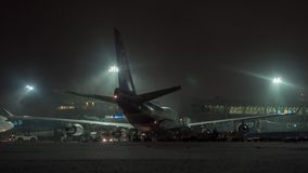 Timelapse of unloading arrived Thai airplane at winter night. Domodedovo, Moscow stock video