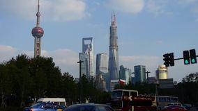Timelapse,urban traffic with Shanghai lujiazui business building background. stock footage