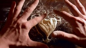 Timelapse Valentine and heart on flour. Write flour stock video footage