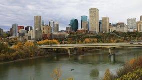 Timelapse van de Stadscentrum van Edmonton in daling 4K stock videobeelden