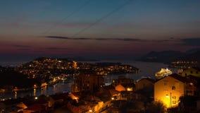 Timelapse van Dubrovnik van dag aan nacht stock footage