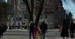 Timelapse van een grote boom en mensen die langs in spitsuur Stockholm lopen stock videobeelden