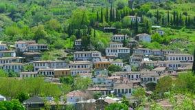 Timelapse van Historische Witte Huizen, Sirince-Dorp, Turkije, gezoem binnen stock video