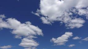 Timelapse van mooie wolken in de atmosfeer wordt geschoten die Blauwe hemel met witte wolken in de de zomerdag stock videobeelden