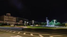 Timelapse van Moskou bij nacht Panorama van het Kremlin stock video
