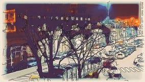 Timelapse van verkeer in Milaan dichtbij het station bij nacht, waterverf vector illustratie