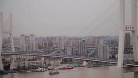 Timelapse van verkeer op Nanpu-Spiraal, Shanghai, China stock footage