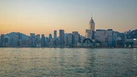 Timelapse video av den Victoria Harbour horisontnatten till dagen i den Hong Kong staden, Hong Kong Time Lapse 4K lager videofilmer