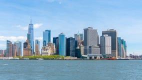 Timelapse video av Lower Manhattanhorisont stock video