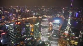 Timelapse video av Shanghai CBD p? natten lager videofilmer
