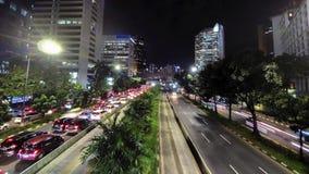 Timelapse video av trafik och medelrörelse stock video