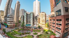 Timelapse video of building in Yau Ma tei area in Kowloon, Hong Kong, time lapse 4K stock footage