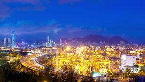Timelapse video of cargo terminal in Hong Kong from day to night stock video