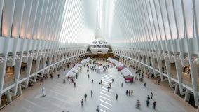 Timelapse video of commuters at the World Trade Center Transportation Hub. New York, USA - May 10, 2018: Timelapse video of commuters at the World Trade Center stock video