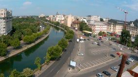 Timelapse video of Dambovita river in Bucharest stock video
