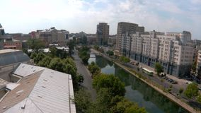 Timelapse video of Dambovita river in Bucharest stock video footage