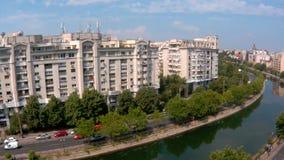 Timelapse video of Dambovita river in Bucharest stock footage