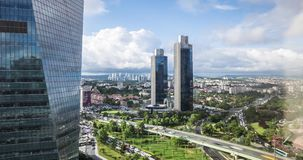 Timelapse video of Levent business district with Sabanci towers, istanbul, Turkey stock video footage