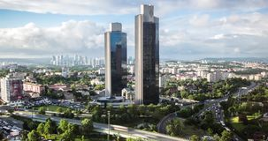 Timelapse video of Levent business district with Sabanci towers, istanbul, Turkey stock footage