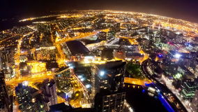 Timelapse video of Melbourne city at night, fisheye view stock footage