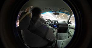 Timelapse video night driving view from inside the car.  stock video