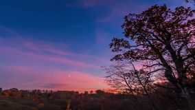 Timelapse video of a red sunset light and the moon stock video footage