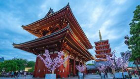 Timelapse video of Sensoji Temple day to night time lapse in Tokyo city, Japan stock footage