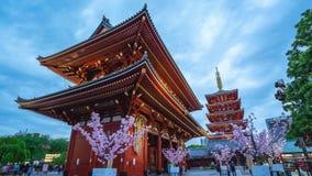 Timelapse video of Sensoji Temple day to night in Tokyo city, Japan time lapse 4K.  stock video