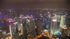 Timelapse video of Shanghai CBD at night stock video footage