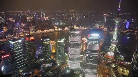 Timelapse video of Shanghai CBD at night.  stock video footage