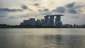 Timelapse video of Singapore cityscape skyline day to night time lapse, 4K stock footage