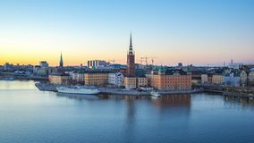Timelapse video of Stockholm cityscape with view of Gamla Stan old town in Stockholm, Sweden, Time Lapse 4K.  stock video