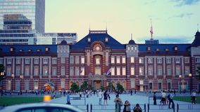 Timelapse video of sunset on the Marunouchi side of Tokyo railway station in the Chiyoda City, Tokyo, Japan