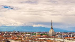 Timelapse video Torino (Turin, Italy) skyline with the Mole Antonelliana towering over the buildings. stock video