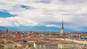 Timelapse video Torino (Turin, Italy) skyline stock footage