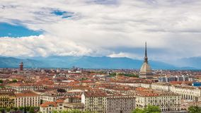 Timelapse video Torino (Turin, Italy) skyline stock video footage