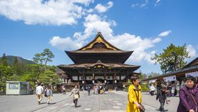 Timelapse video of tourist are traveling at Zenkoji Temple in Nagano, Japan.  stock video