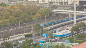 Timelapse video tracking the motion of a Metro train in Melbourne. Melbourne, Australia - May 14, 2015: Timelapse video tracking a Metro train moving from one stock video