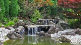 Timelapse video of waterfall in Japanese garden stock video footage