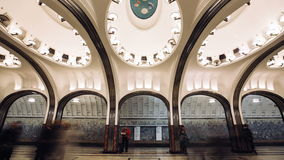 Timelapse view of arriving trains on Mayakovskaya subway station. Timelapse view of arriving trains and peaope walkink throw Mayakovskaya subway station stock footage
