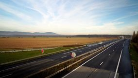 Timelapse view of cars traffic on motorway. Alsace, France stock video